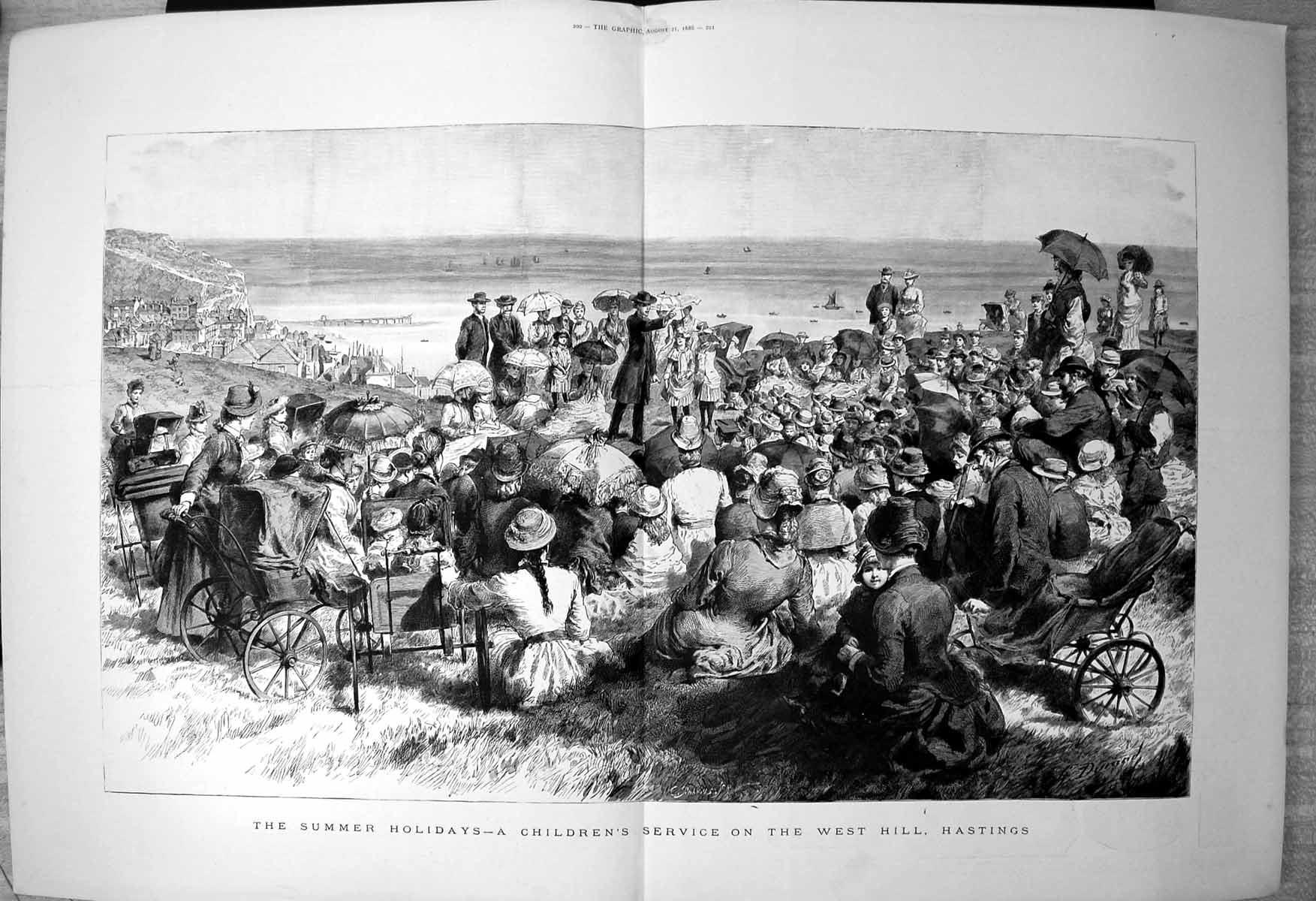 Antique-Print-Summer-Holidays-Childrens-Service-West-Hill-Hastings-Sea-1886