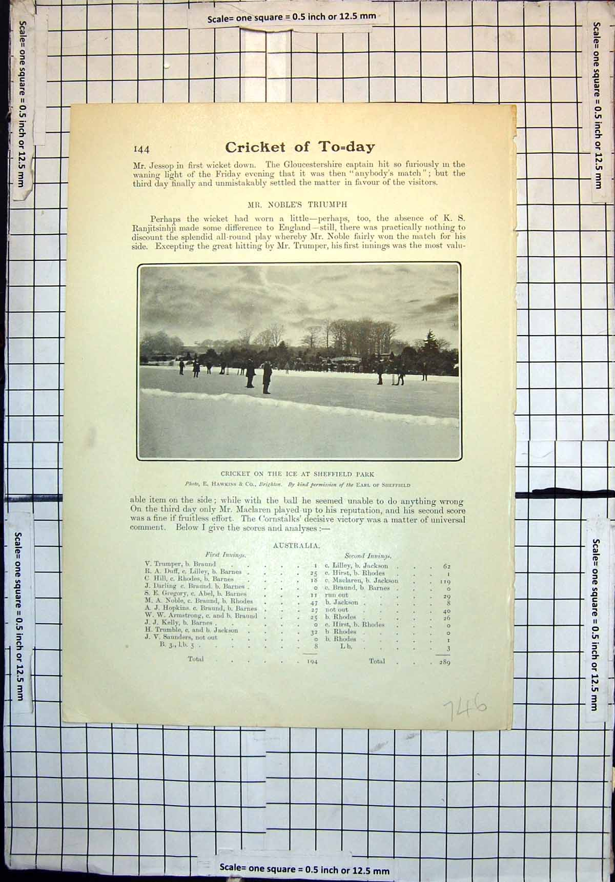Original-Old-Antique-Print-Cricket-On-Ice-Sheffield-Park-S-Barnes