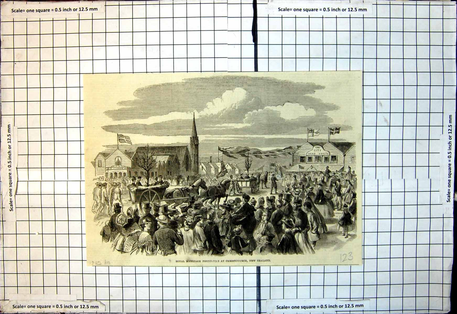 Antique-Old-Print-Royal-Marriage-Festivities-Christchurch-New-Zealand-1863-19th