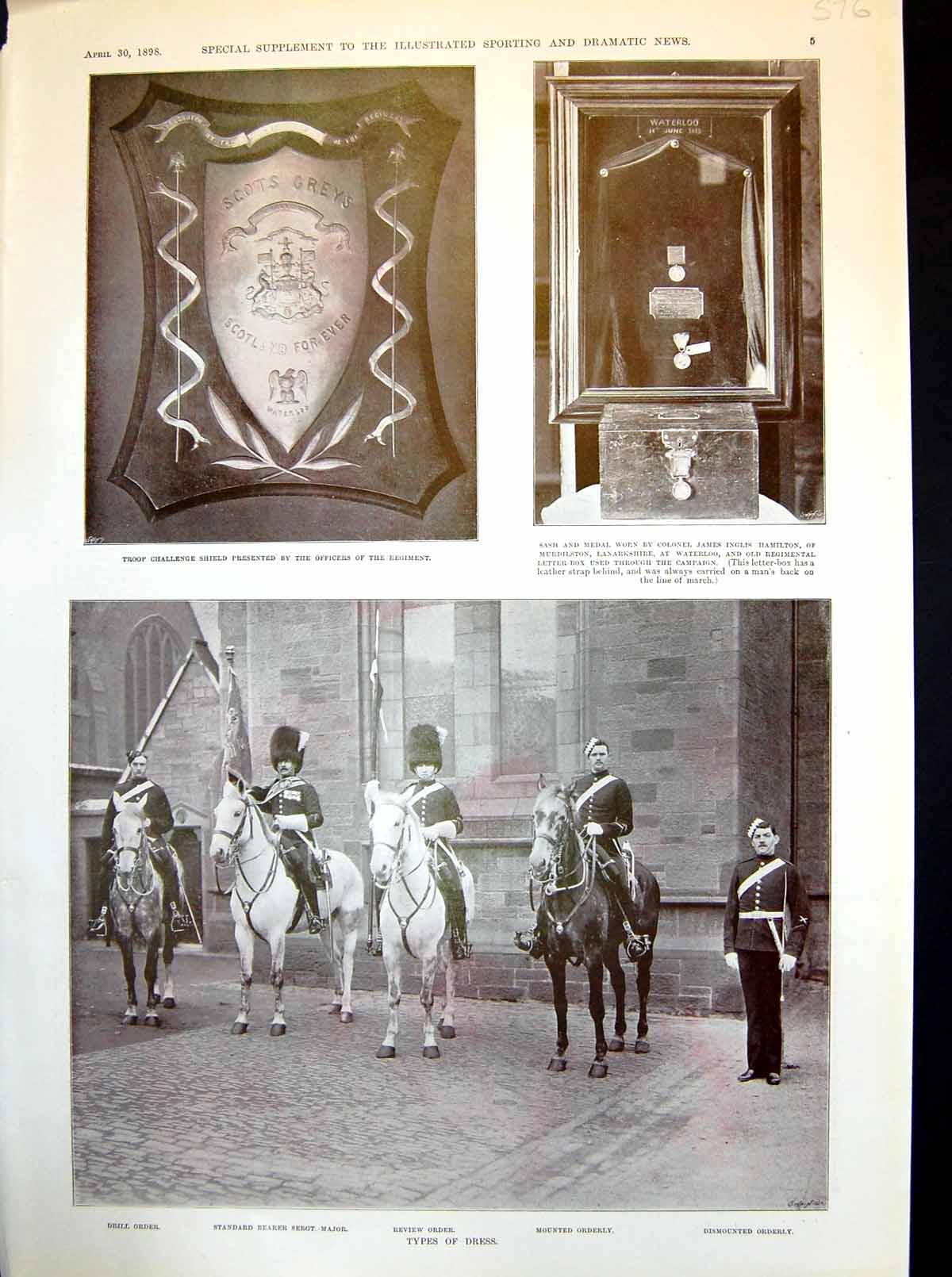 Old-Antique-Print-Royal-Scots-Greys-Challenge-Shield-Dress-Trumpeter-1898-19th