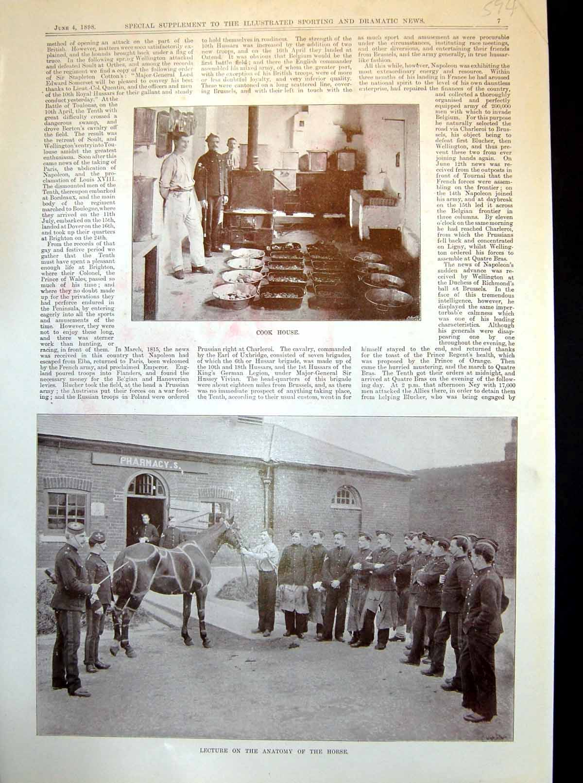 Old-Antique-Print-Cook-House-Lecture-Horse-Anatomy-Signallers-Church-1898-19th
