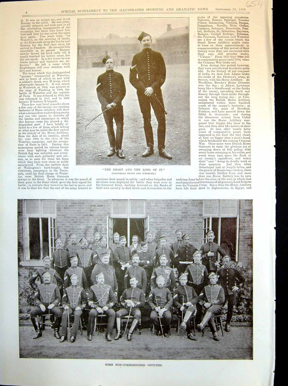 Antique-Print-Non-Commissioned-Officers-Recruits-Learning-Ride-Action-1898-19th