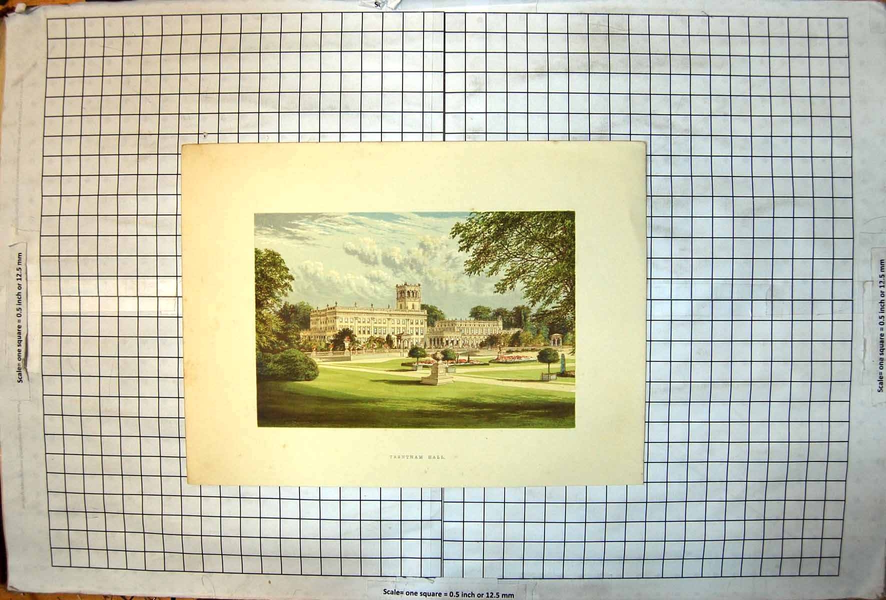 Antique-Old-Print-Trentham-Hall-Perspective-View-Colour-From-Gardens-Statuary
