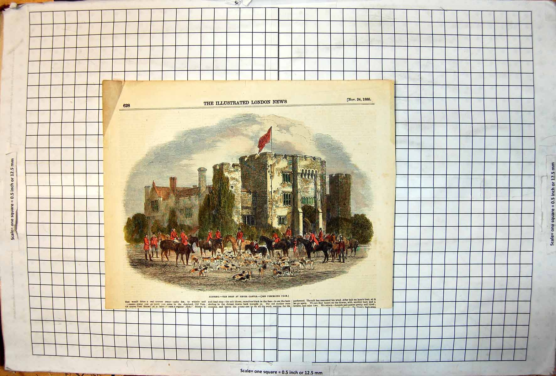 Antique-Old-Print-Hunting-Meet-Hever-Castle-Hounds-Horses-Riders-Flag-1855-19th