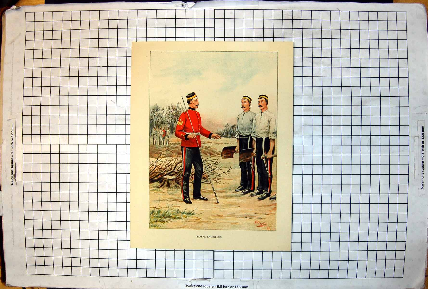 Antique-Print-Royal-Engineers-Being-Instructed-Spades-Cleared-Ground-Siers