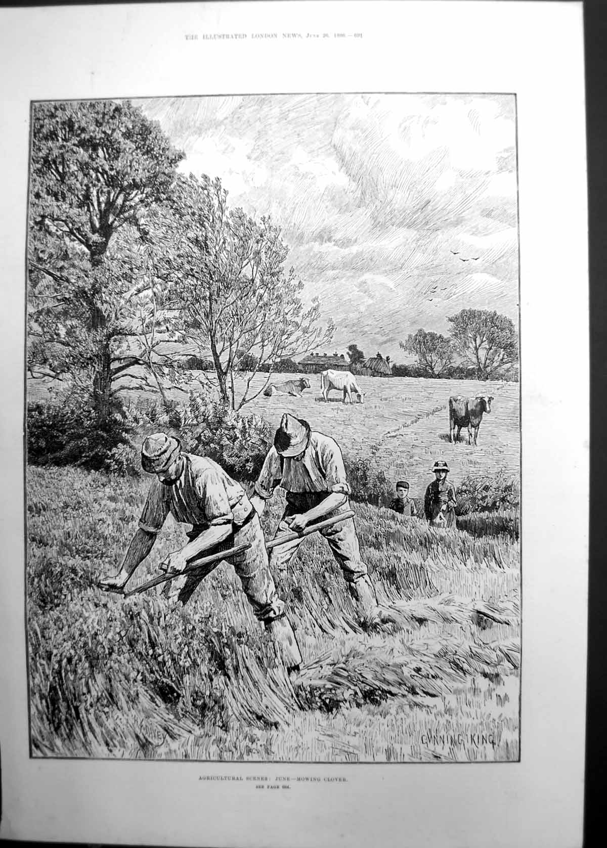 Original-Old-Antique-Print-Agricultural-Scenes-Mowing-Clover-Men-Cattle-1886