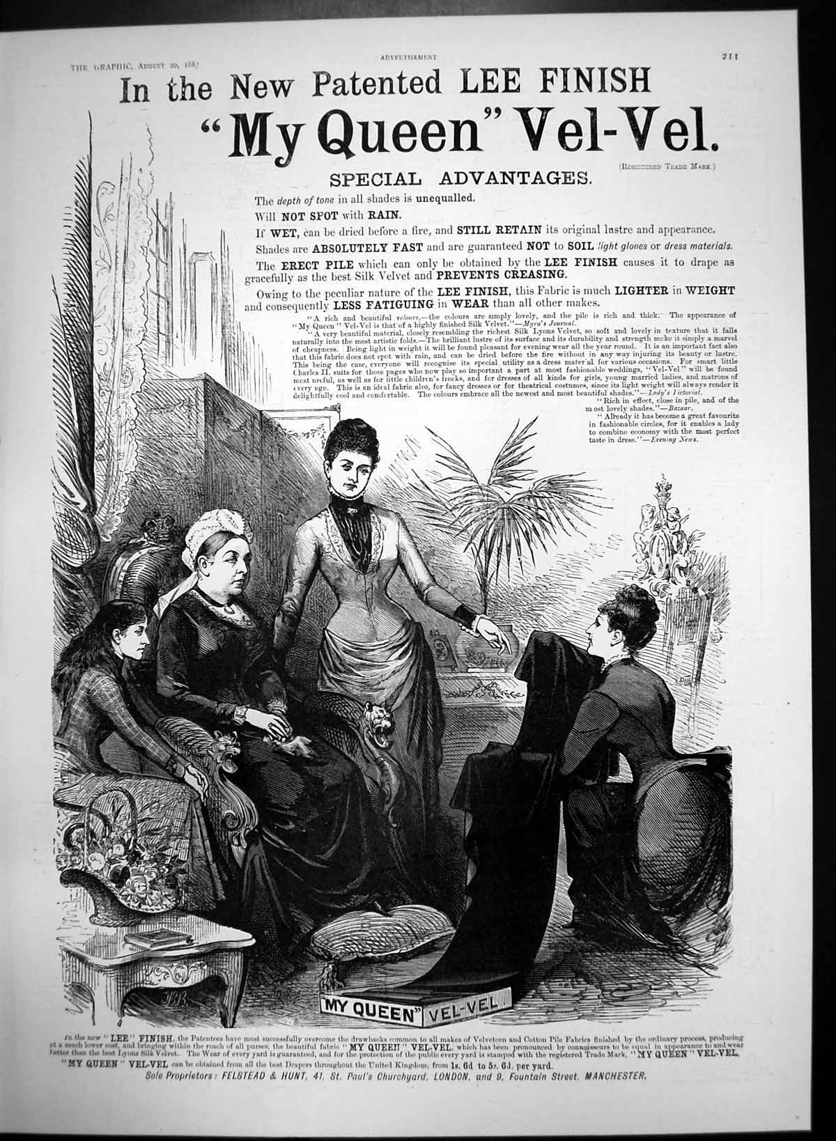 Original-Old-Antique-Print-My-Queen-Vel-Vel-Retains-Lustre-Appearance-1887-19th