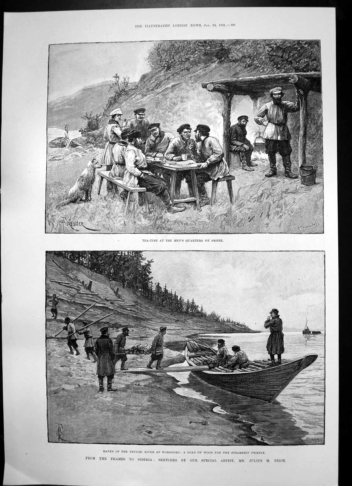 Antique-Old-Print-Siberia-Yenisei-River-Wood-Steamship-Phoenix-Samoyede-1891