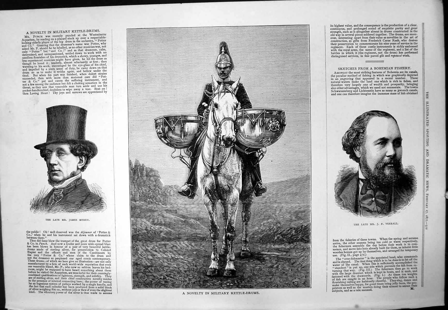 Old-Print-Late-Mr-Hames-Merry-Military-Kettle-Drums-Horse-JF-Verrall-1877-19th