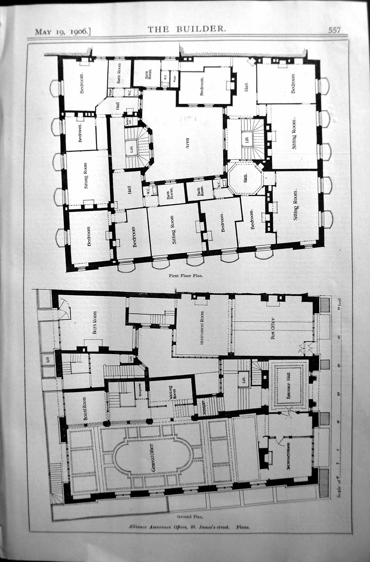 Old-Architecture-1906-Builder-Ground-Plan-Alliance-Assurance-Offices-20th