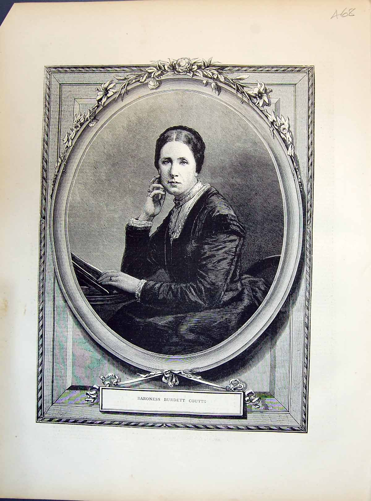 Old-Antique-Print-1871-Portrait-Beautiful-Woman-Baroness-Burdett-Coutts-19th