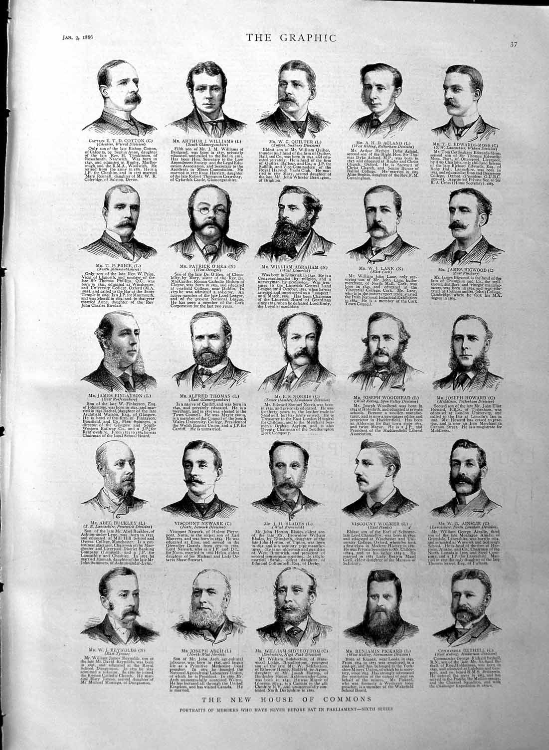 Old-Antique-Print-1886-Commons-Quilter-Abraham-Norris-Blades-Arch-Newark-19th