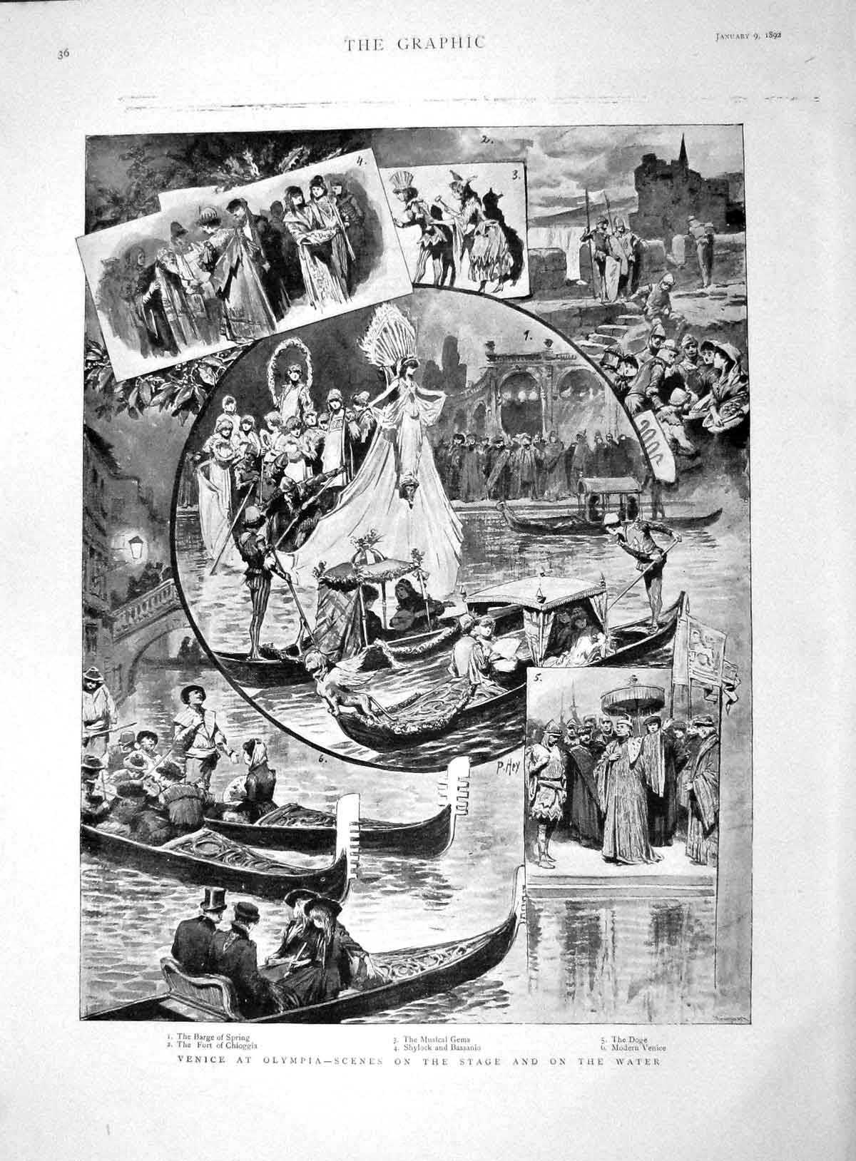 Old-Antique-Print-1892-Venice-Olympia-Barge-Spring-Fort-Chioggia-Bassanio-19th