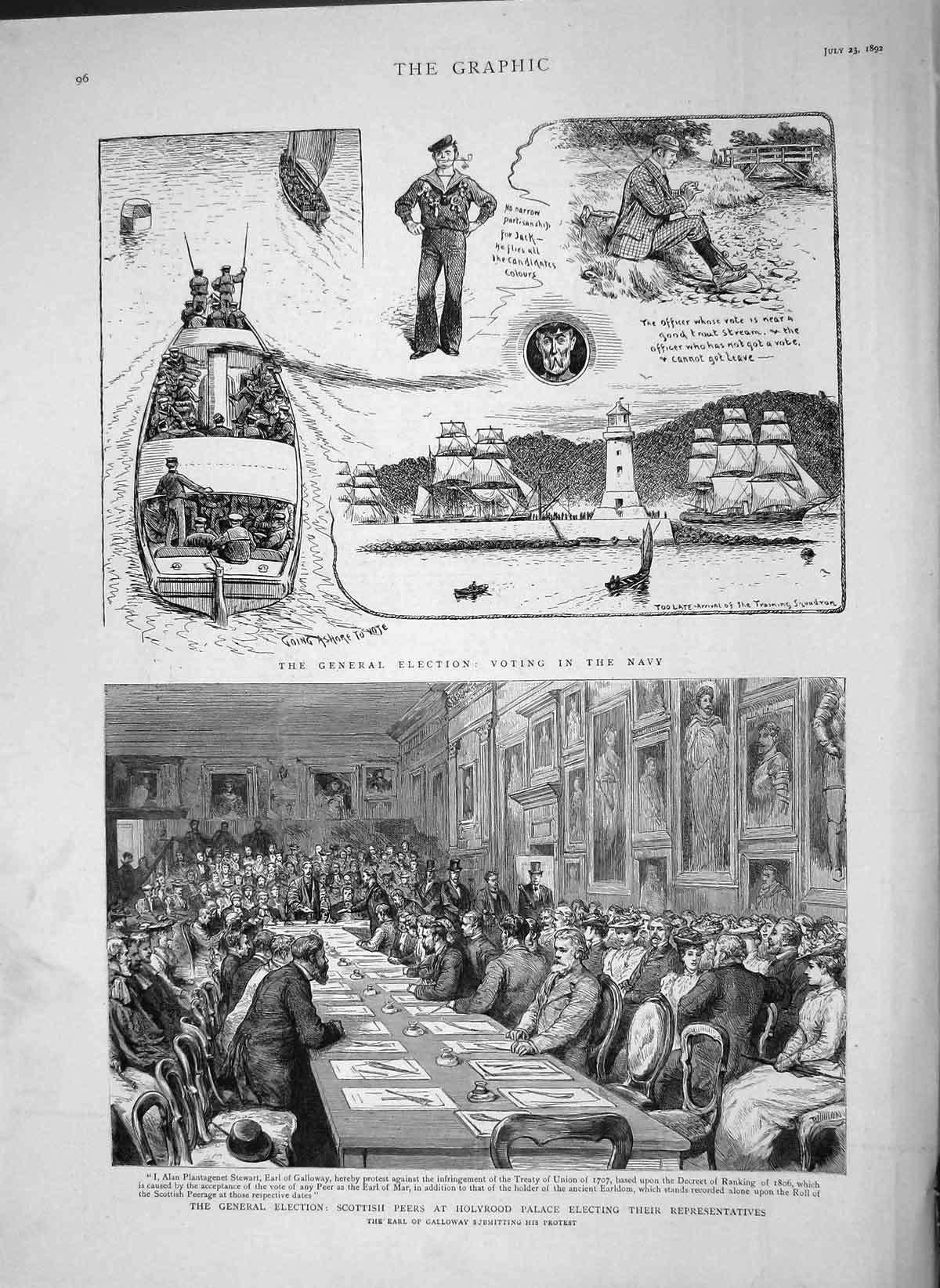 Original-Old-Antique-Print-1892-General-Election-Scottish-Peers-Holyrood-Palace