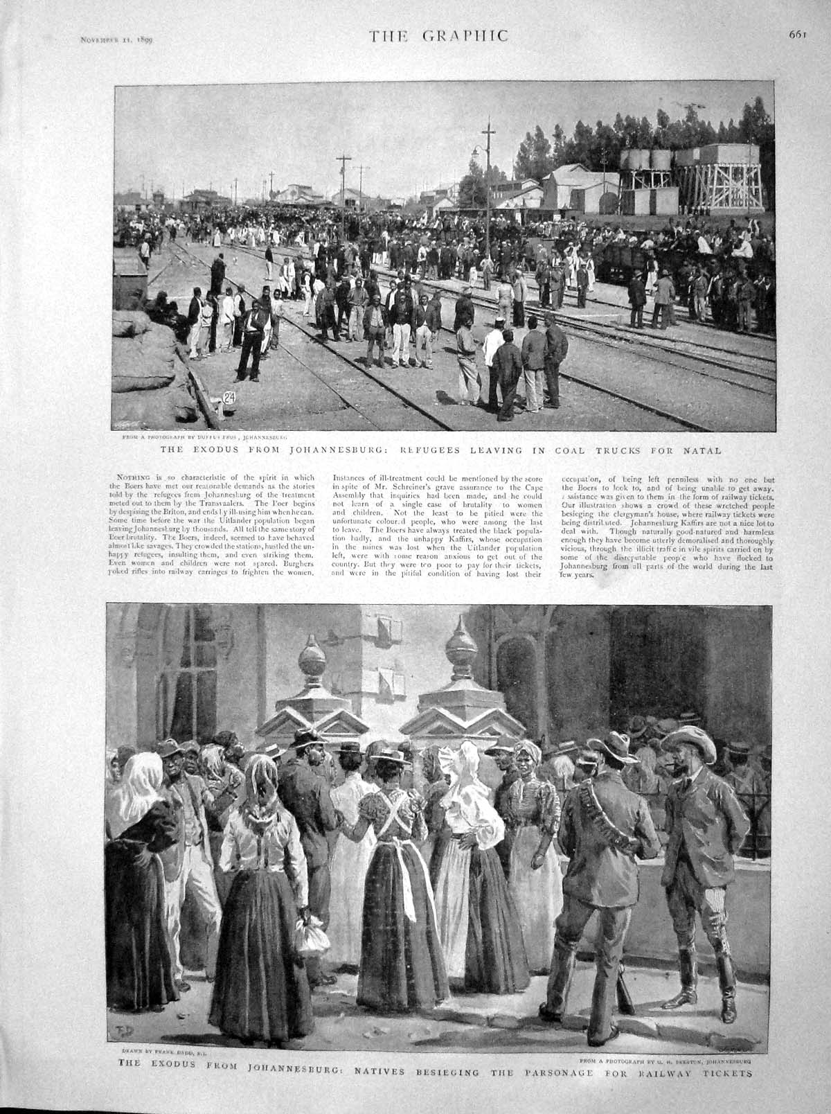 Original-Old-Antique-Print-1899-Exodus-Johannesburg-Coal-Natal-Ladysmith-19th