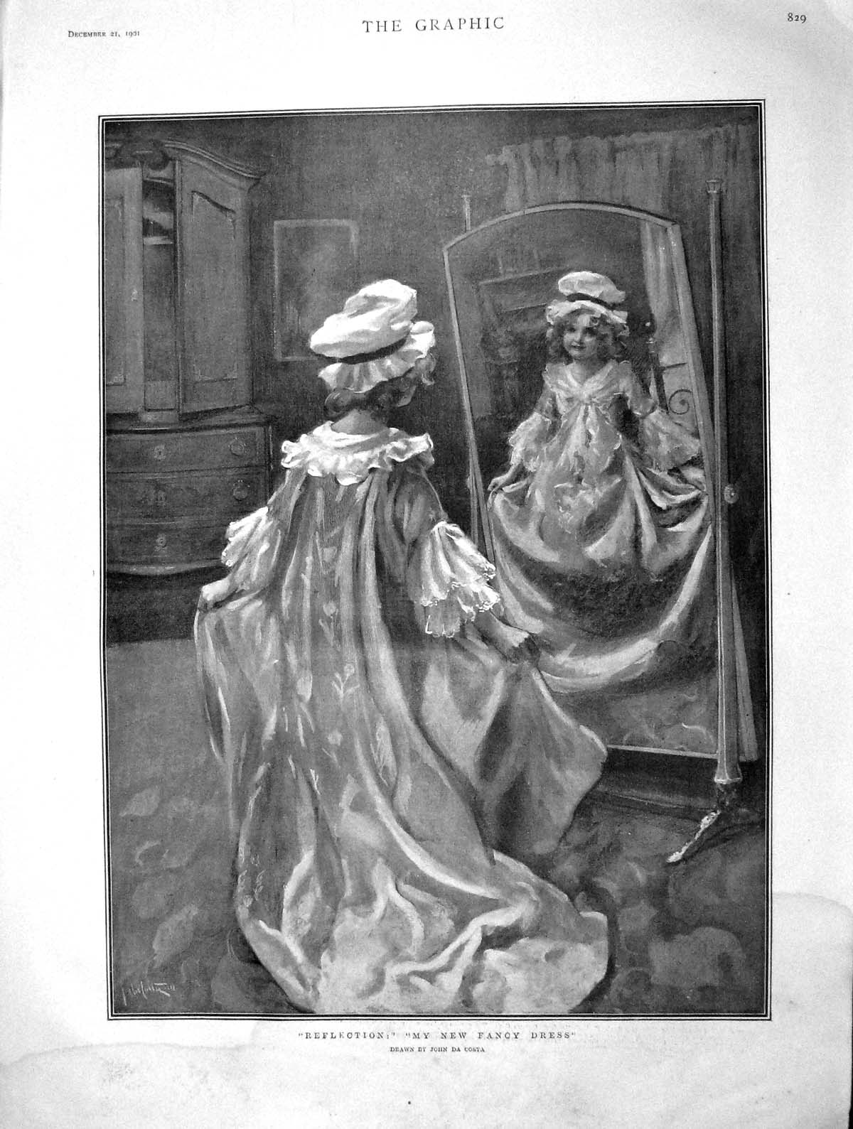 Old-Antique-Print-1901-Girl-Fancy-Dress-Oxford-Rugby-Ship-Satellite-Tin-20th