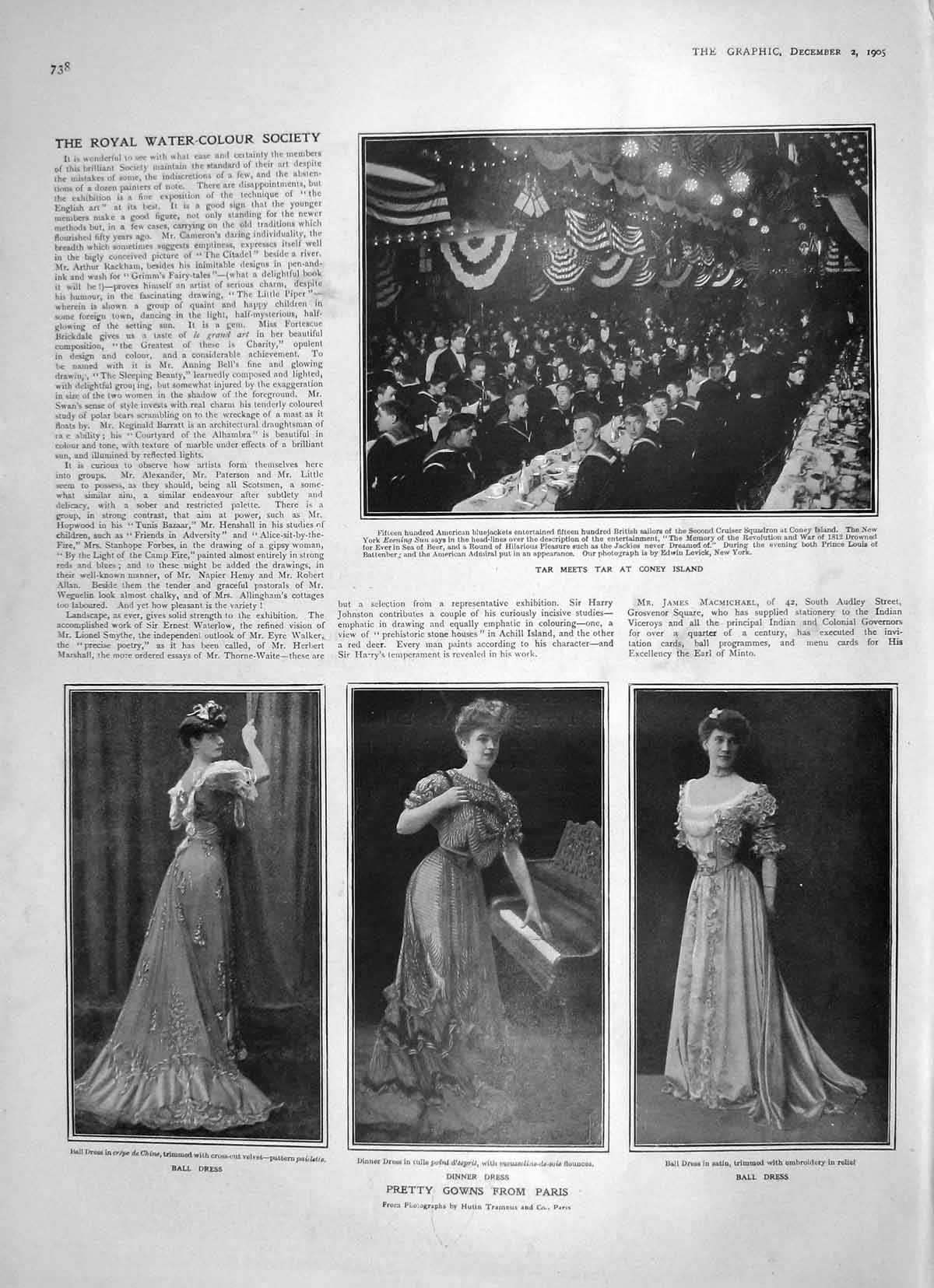 Old-Antique-Print-1905-Paris-Fashion-Gowns-Coney-Island-Huntley-Palmers-20th