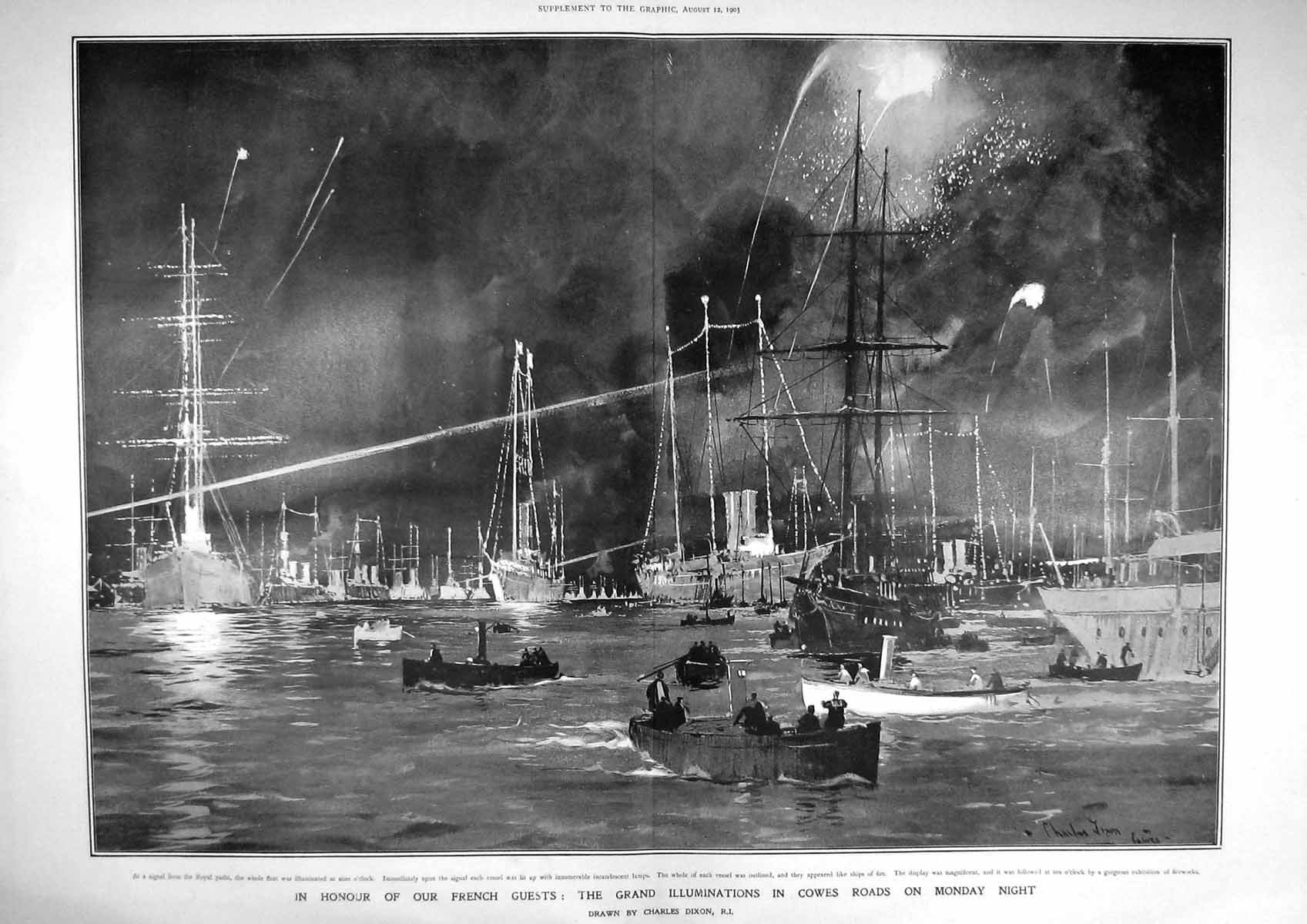 Old-Antique-Print-1905-Illuminations-Cowes-Roads-War-Ships-Royal-Yacht-20th
