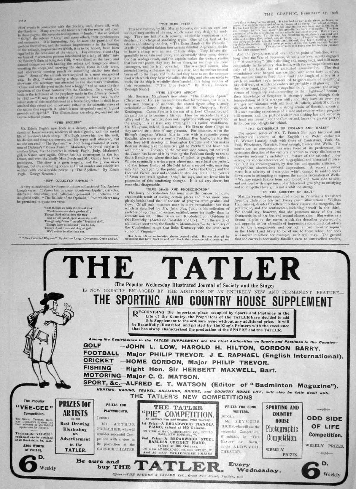 [Antique Print 1906 Tatler Sporting Country House Supplement Advert 222M173 ]
