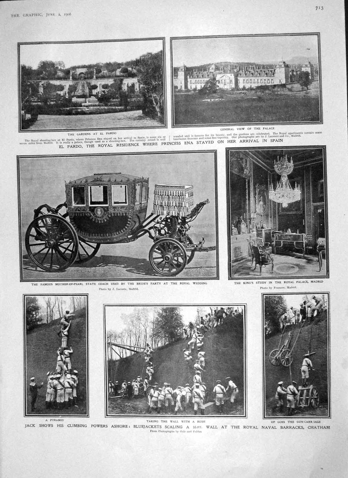 Old-Antique-Print-1906-Bluejackets-Chatham-Palace-Madrid-Goodwyn-Vaughan-20th