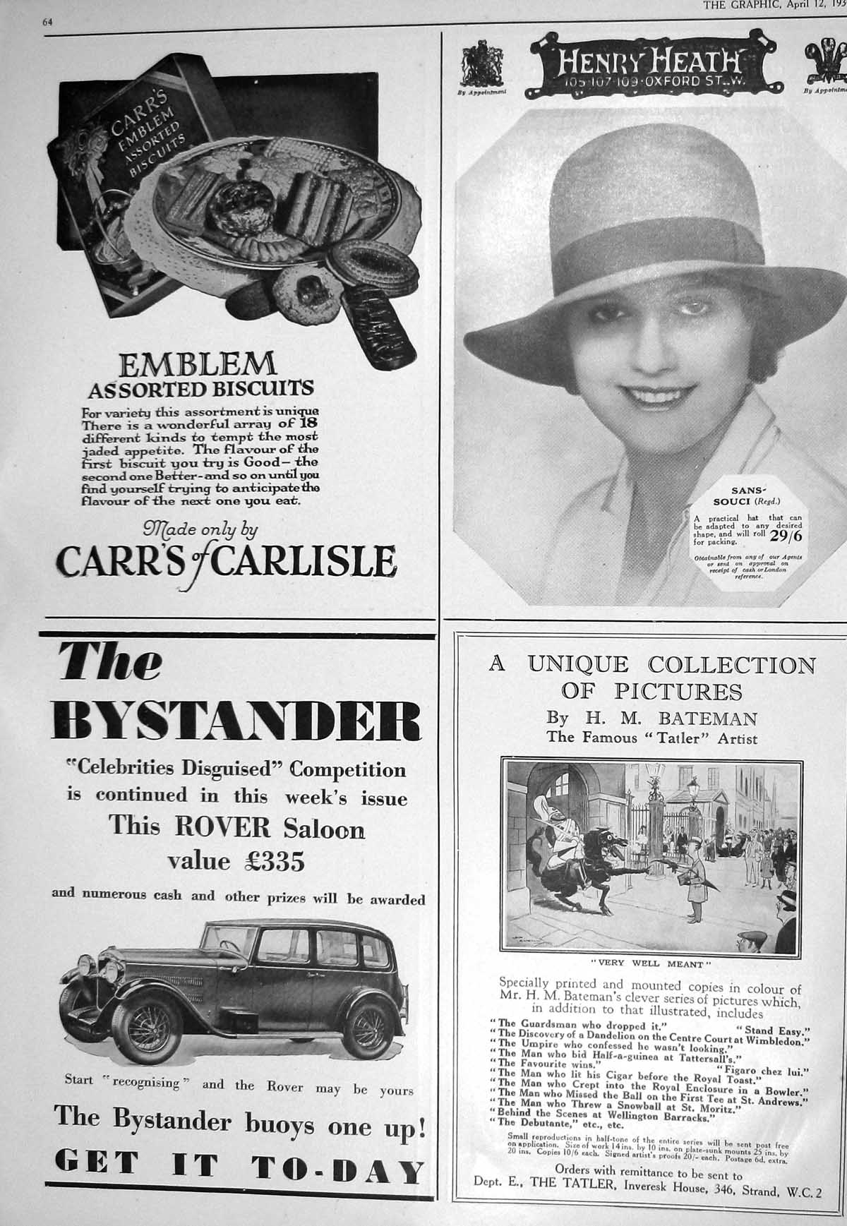[1930 Henry Heath Carrs Biscuits Bystander Tatler Swan Edgar Woodr 064M228 ]