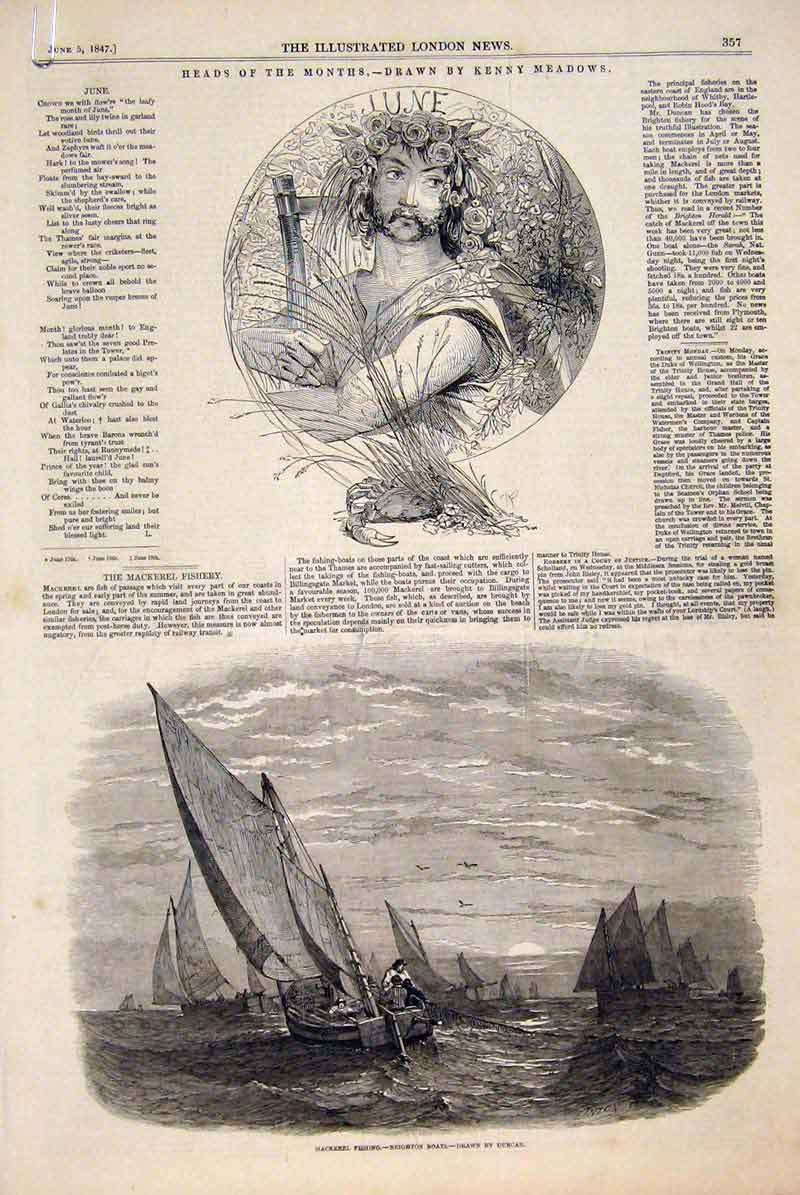 Original-Old-Antique-Print-Month-Heads-Kenny-Meadows-1847-19th