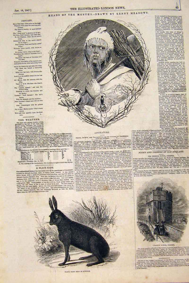 Original-Old-Antique-Print-Month-Heads-Kenny-Meadows-1847-19th thumbnail 2