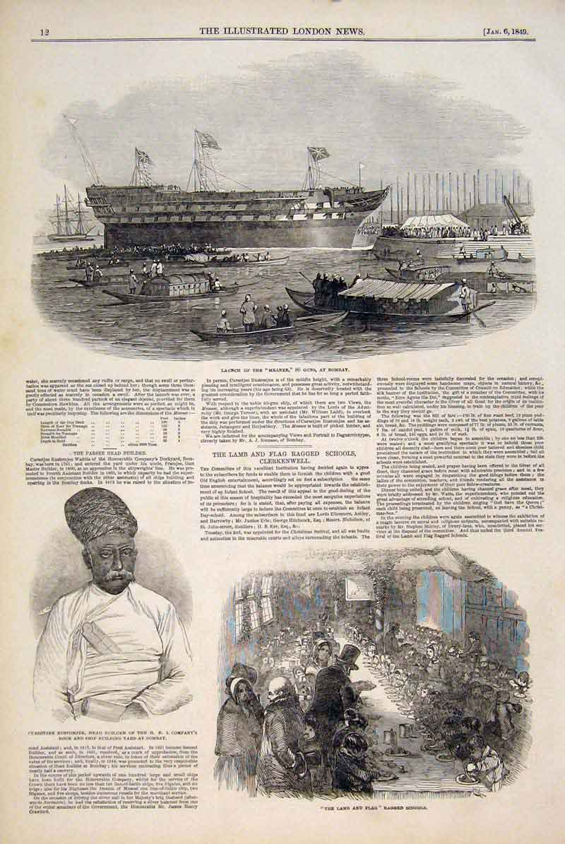 [Old Antique Print Meanee Bombay India Builder Lamb Flag Ragged School 12MAA0 ]