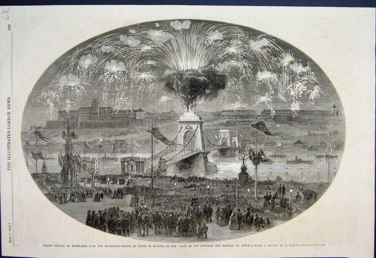Antique Print 1857 Fireworks Suspension Bridge Perth Emperor Austria 626AMAR