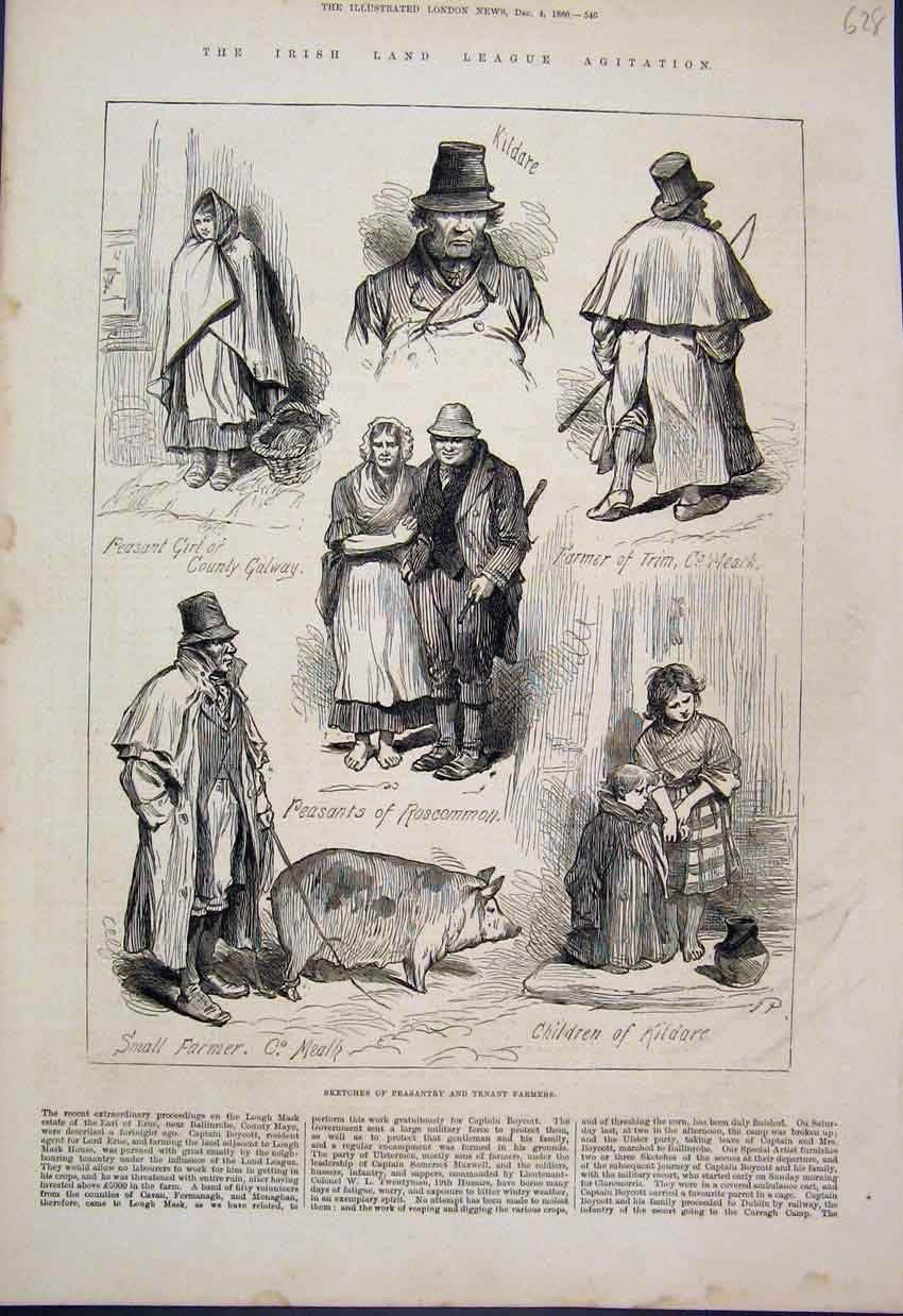 Antique Print 1880 Peasantry Farmers Pig Children Kildare Sketches 628AMAR