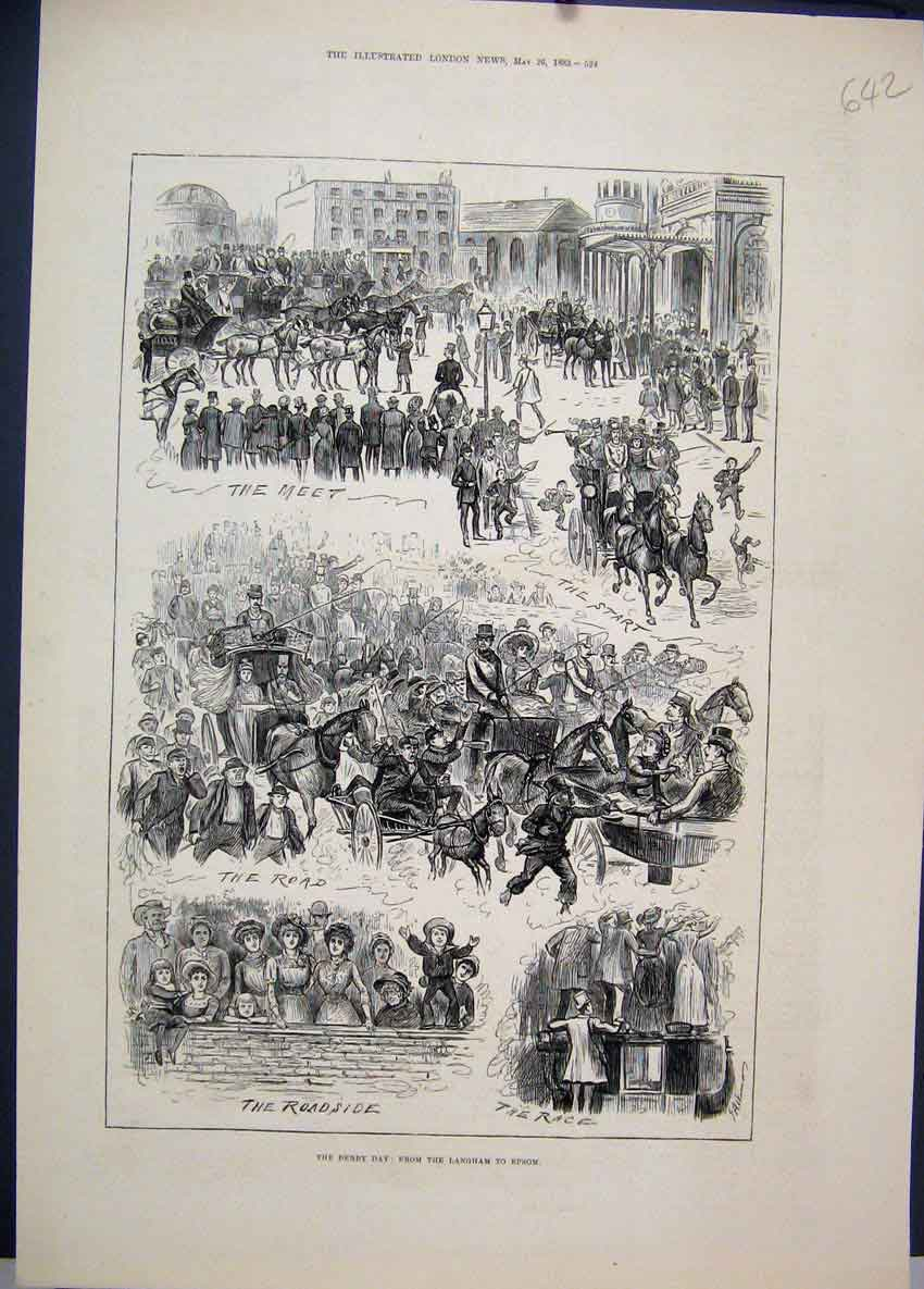 Original-Old-Antique-Print-1883-Derby-Day-Horse-Races-Langham-Epsom-Victorian