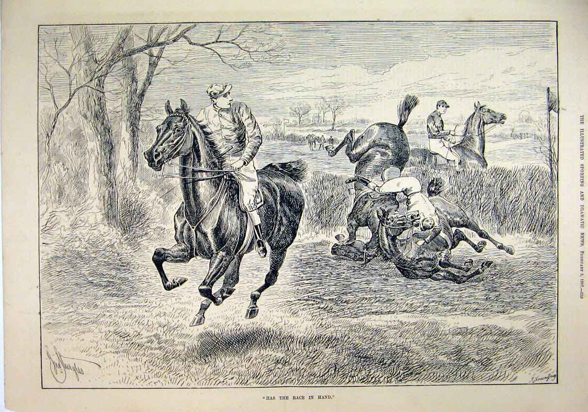 Original-Old-Antique-Print-1887-Horses-Jumping-Hedge-Jockey-Falling-Racing-19th