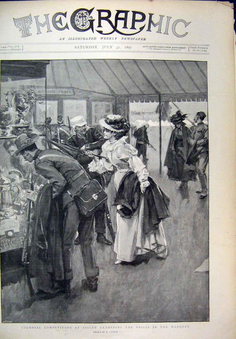Old-Antique-Print-Bisley-Flood-1897-Colonial-Prizes-Marquee-Railway-Track-19th