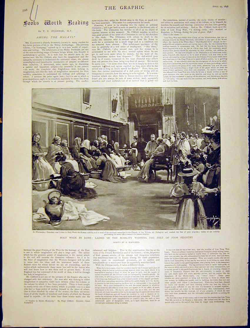 Original-Old-Antique-Print-Holy-Week-Rome-Pilgrims-Nobility-Sepulchre-Bianchini