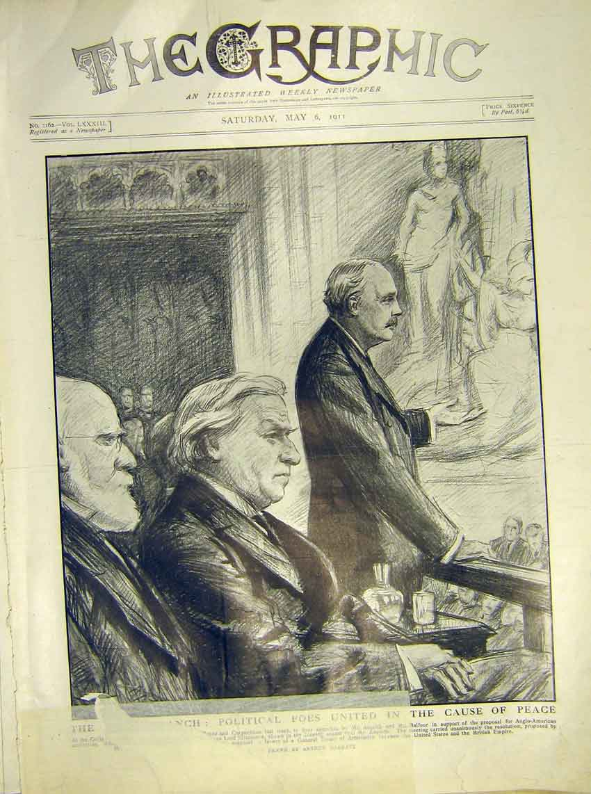 Original-Old-Antique-Print-Asquith-Balfour-Court-Treaty-Guildhall-London-1911