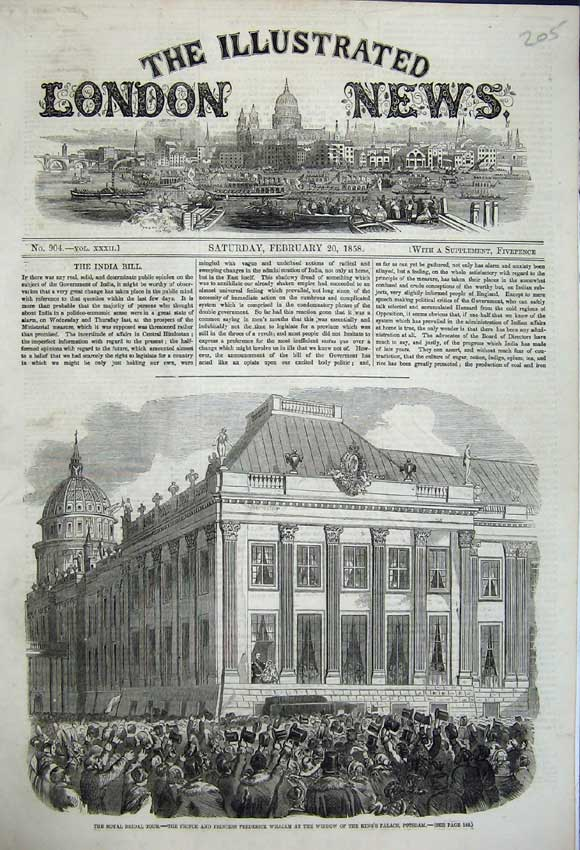 Original-Old-Antique-Print-Kings-Palace-Potsdam-Window-People-In-Streets-1858