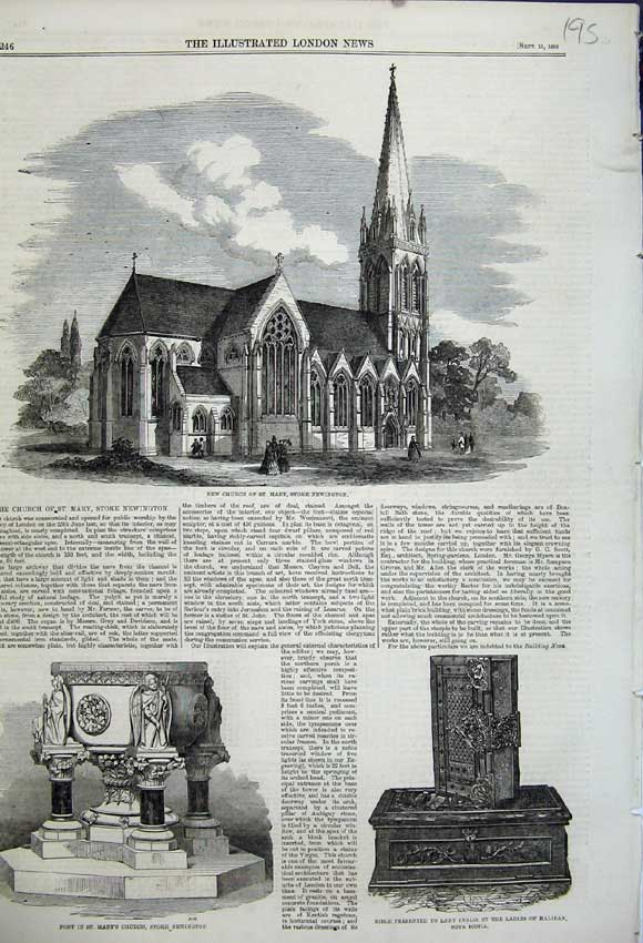 Old-Antique-Print-1858-Church-St-Mary-Stoke-Newington-Bible-Font-Inglis-19th