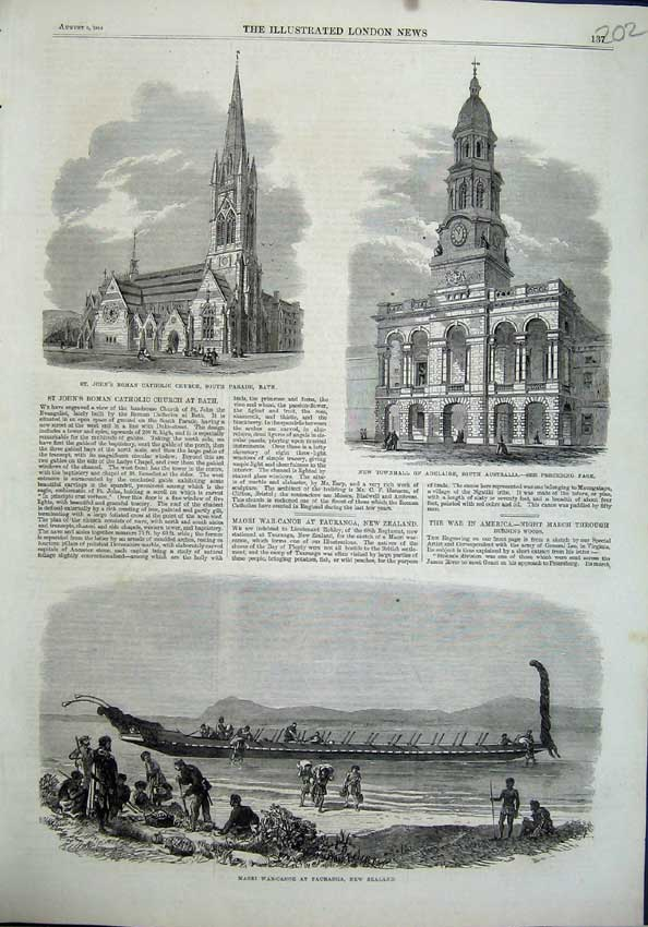 Old-Antique-Print-Townhall-Adelaide-Australia-1864-Church-Bath-Maori-War-19th