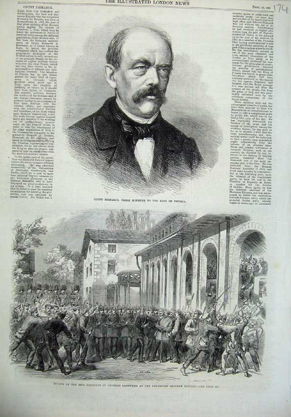 Old-Antique-Print-Count-Bismarck-Minister-Prussia-1866-Frankfort-Railway-19th