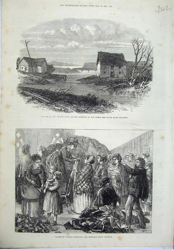 Original-Old-Antique-Print-1871-Chicago-Wolf-039-S-Point-River-Branches-Refugees