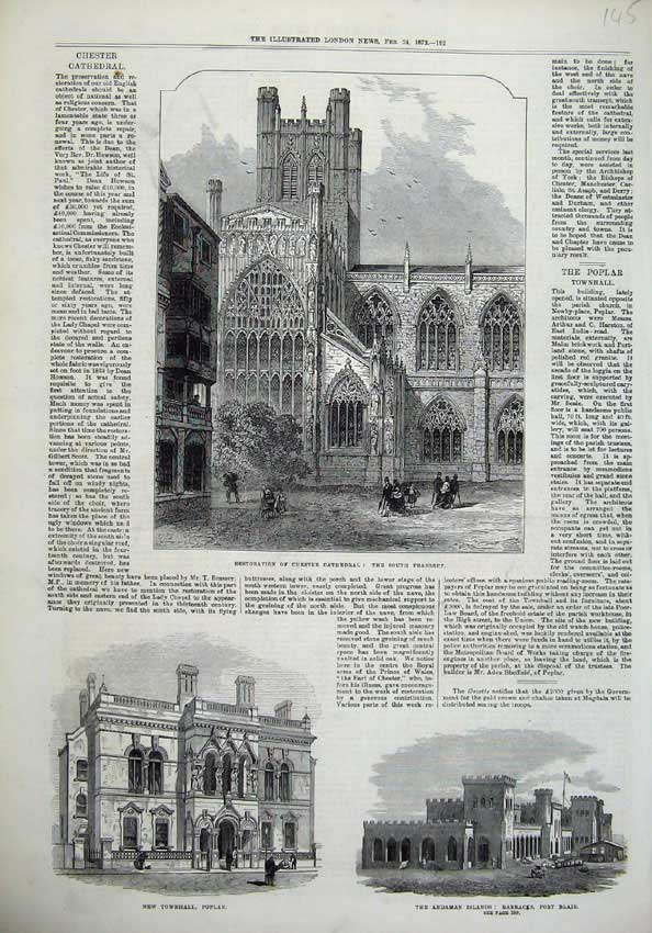 Old-Antique-Print-1872-Chester-Cathedral-Townhall-Poplar-Barracks-Blair-19th