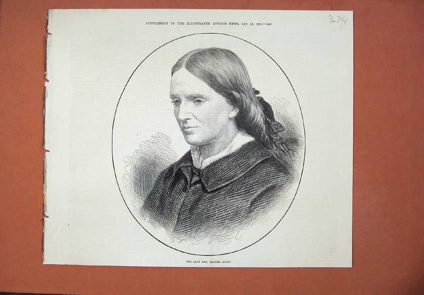 Original-Old-Antique-Print-1873-Portrait-Late-Mrs-Alfred-Gatty-Woman-Victorian