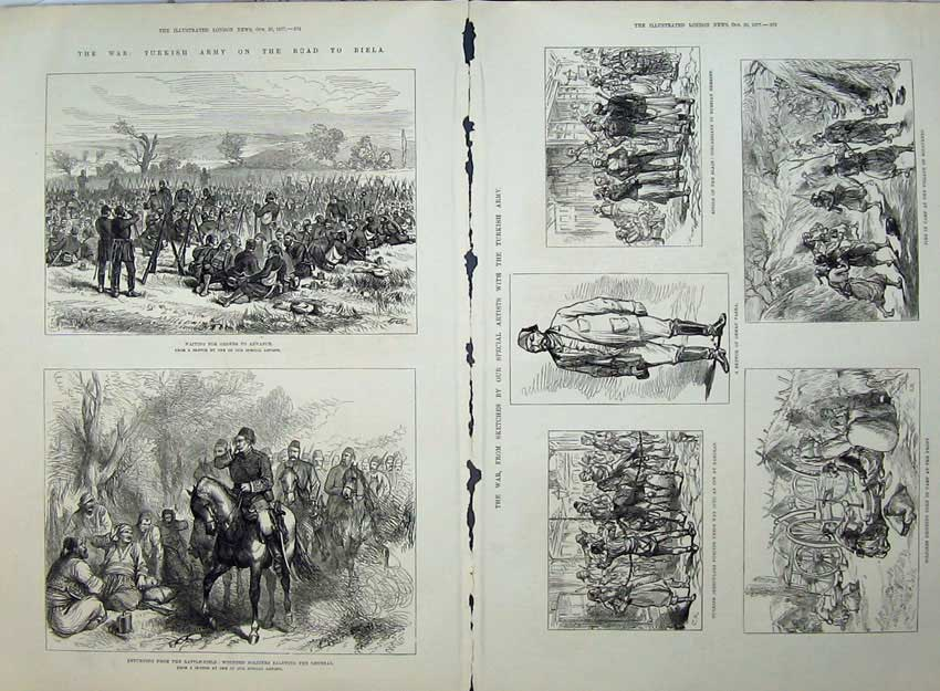 Old-Antique-Print-1877-Turkish-Army-Wounded-Siers-Camp-Osman-Pasha-War-19th