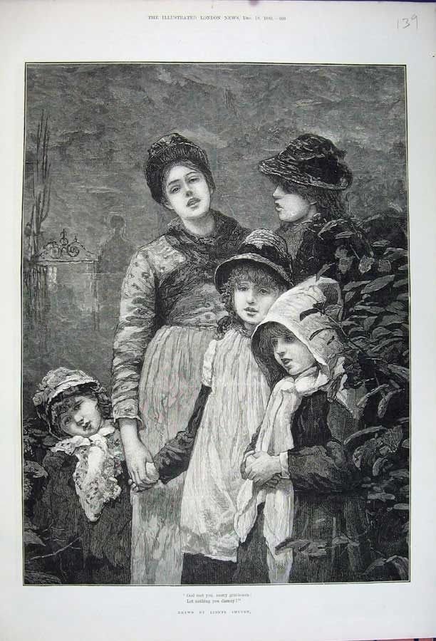 Original-Old-Antique-Print-1880-Fine-Art-Woman-Children-Christmas-Lionel-Smythe