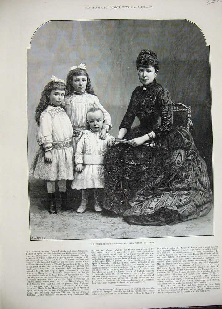 Original-Old-Antique-Print-1889-Queen-Regent-Spain-Children-Mother-Royalty-Art