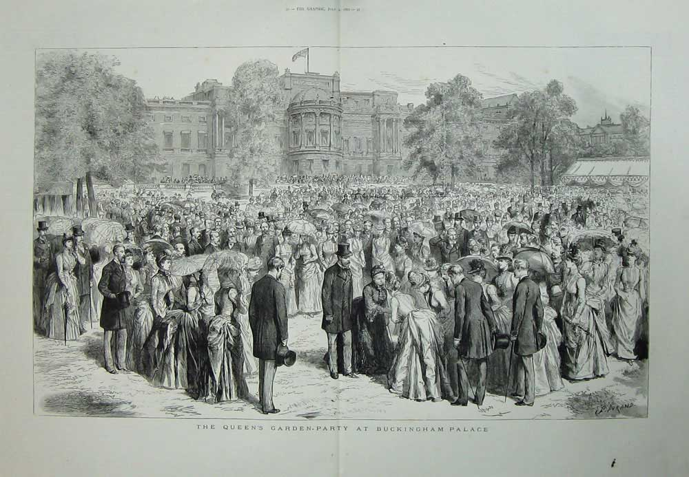 Original-Old-Antique-Print-Queen-039-S-Garden-Party-Buckingham-Palace-London-1887