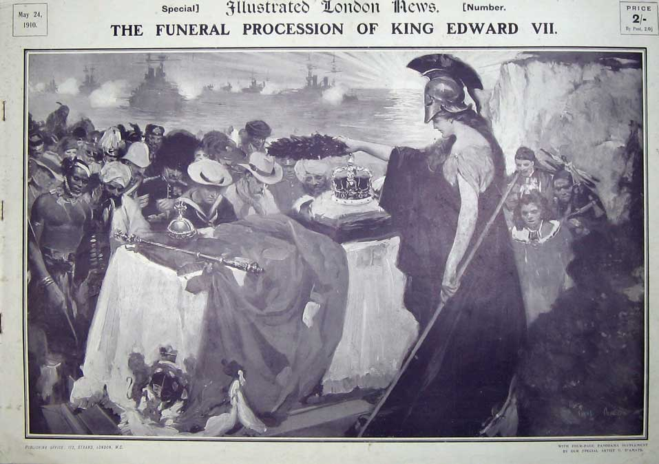 Original-Old-Antique-Print-The-Funeral-King-Edward-Vii-1911-Supplement-Iln