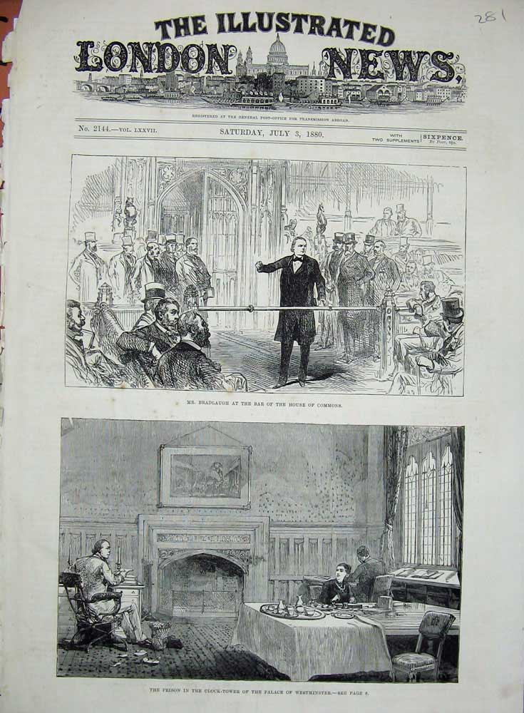 Old-Antique-Print-1880-Bradlaugh-House-Commons-Palace-Westminster-Tower-19th