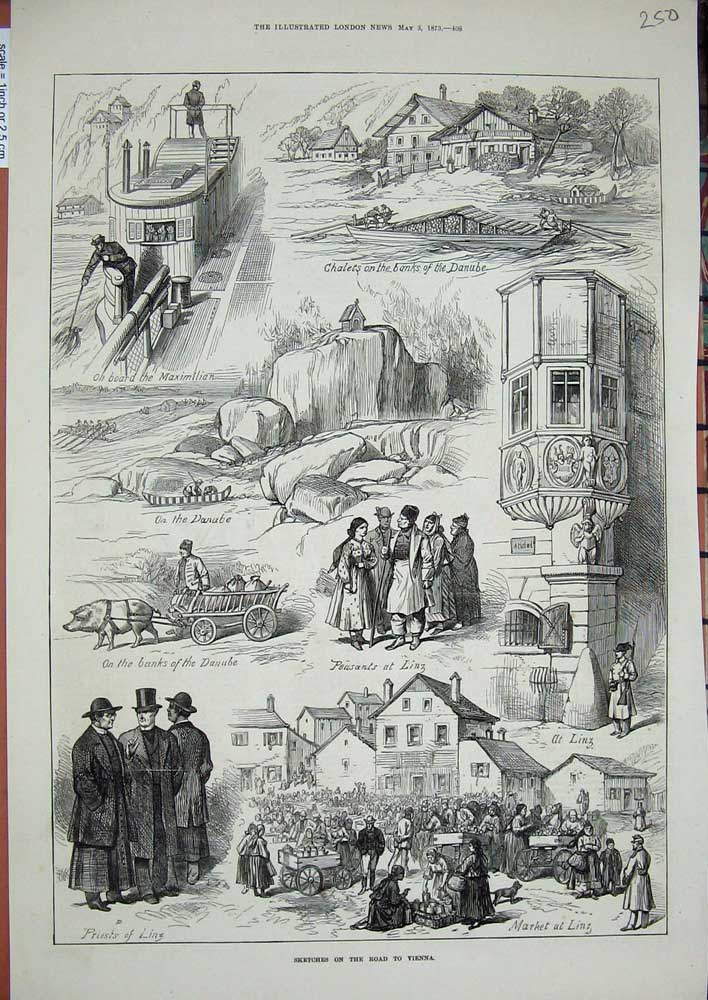 Old-Antique-Print-1873-Vienna-Chalets-Danube-Linz-Priests-Pig-Cart-Boat-19th