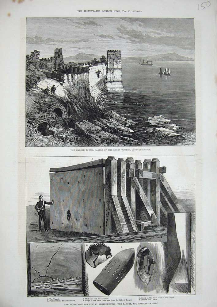 Antique-Old-Print-0262-1877-Marble-Tower-Castle-Constantinople-Shoeburyness